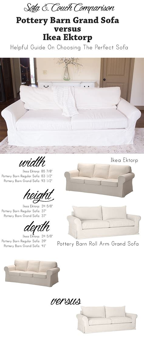Pottery Barn Grand Sofa Dimensions by Ikea Ektorp Versus Pottery Barn Grand Sofa