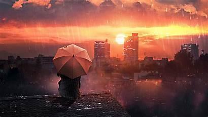 Rain Roof Umbrella Sky Night Background Loneliness