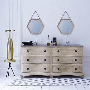 Meuble De Salle De Bain Double Vasque : meuble double vasque en pin hermione meubles en ceramique tikamoon ~ Teatrodelosmanantiales.com Idées de Décoration