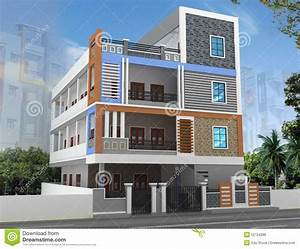 Plan Elevation And 3d Of Residential One Storey Building