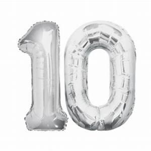 Uhr Zum Hinstellen : 10 geburtstag xxl zahl 10 silber im shop ~ Sanjose-hotels-ca.com Haus und Dekorationen