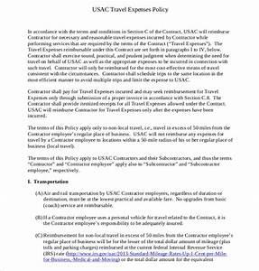 Formal Report Samples Travel Expenses Reimbursable Policy