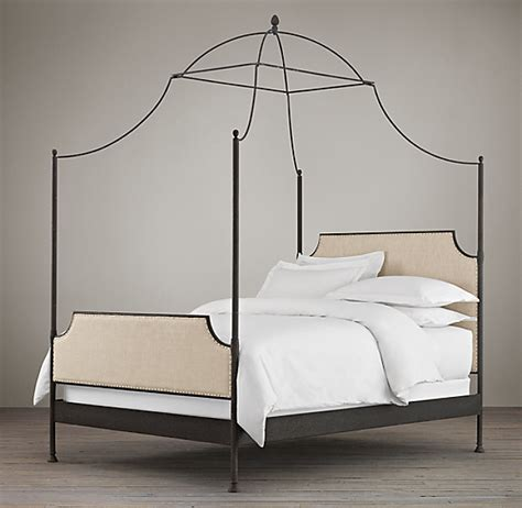 campaign fabric iron canopy bed