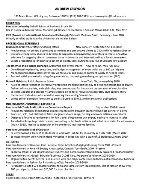sle resume strategic planning intern http