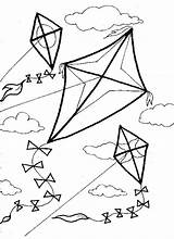 Kite Coloring Pages Kites Printable Getcolorings Colorings sketch template