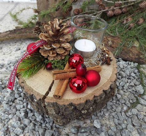 Gestecke Für Weihnachten Selber Machen by Weihnachten Advent Holz Gesteck Teelicht Auf Holzscheibe