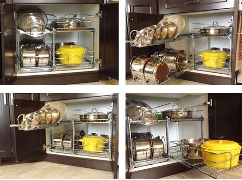 organizing pots and pans in kitchen cabinets organize pots pans cabinet with rev a shelf products 9673