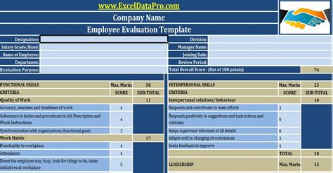 employee performance evaluation excel template exceldatapro