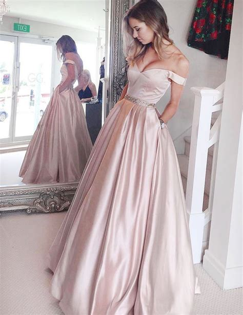 A-Line Off-the-Shoulder Floor-Length Pearl Pink Satin Prom ...