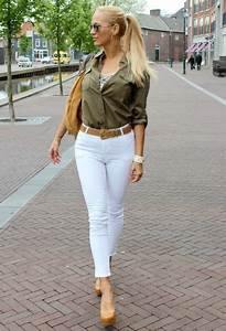 Blouse sequins army green top shirt white jeans jeans high heels nude nude high heels ...