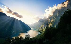 Nature, Landscape, Alps, Lake, Switzerland, Sunset