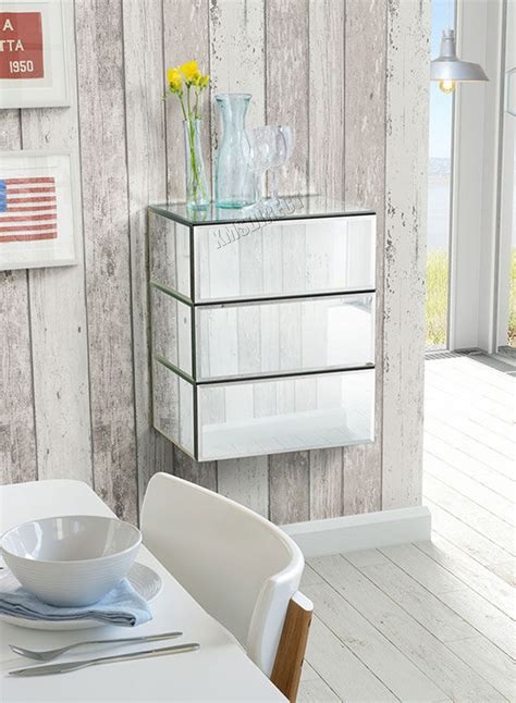 Floating Glass Cabinet - westwood mirrored furniture glass 1 drawer floating