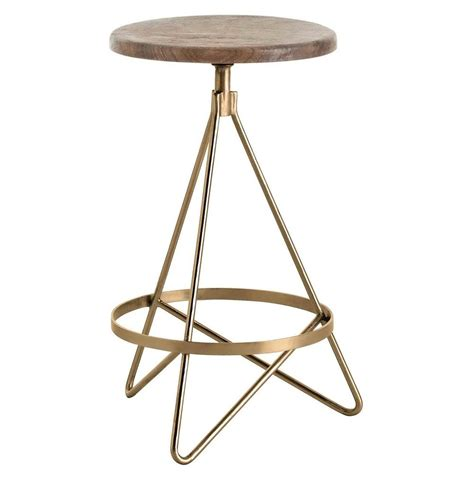 Counter Stools by Windham Industrial Vintage Brass Wood Iron Swivel Counter