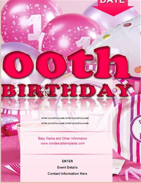 ms word zeroth birthday flyer template word excel