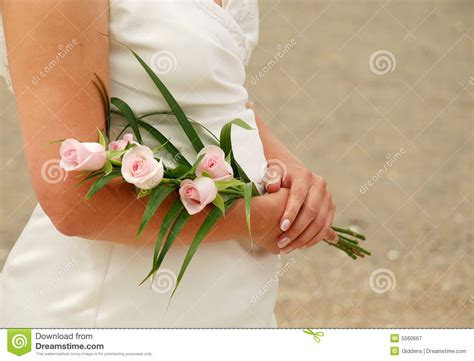 Bride Holding Boquet Royalty Free Stock Photography