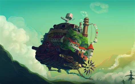 studio ghibli castle anime green peace art
