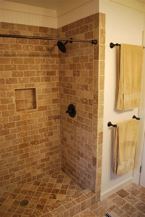 tile shower with curtain rod for the home