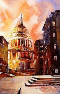 Watercolor Painting Of St Pauls Cathedral London England ...