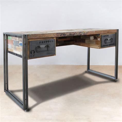 le de bureau en bois bureau 120cm en bois recyclés de bateaux 2 tiroirs métal