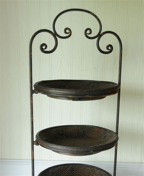 fruit stand vegetable stand  tiered metal tray rack wood