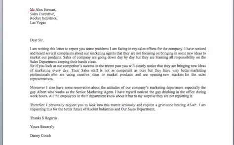 sample grievance letter smart letters