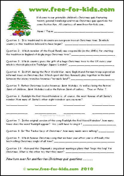 Free Printable Christmas Trivia Questions and Answers