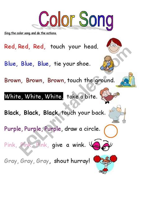 color song in color song esl worksheet by whiteheads