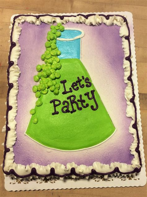 science party sheet cake  laboratory flask fun cakes