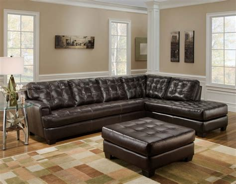 brown leather tufted sectional chaise lounge sofa
