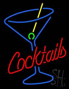 Cocktails and Martini Glass Neon Sign Cocktail Neon Signs