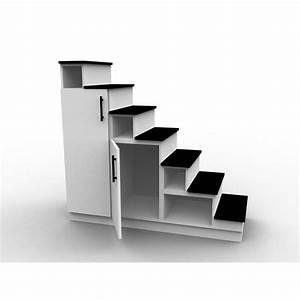 Meuble escalier blanc et noir, double espace de rangement