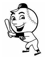 Met Mr Baseball Coloring Mascot Cartoon Pages Tarp Yankee Template Take sketch template