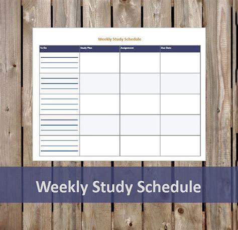 study schedule templates    premium