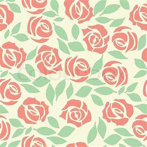 Vector rose seamless flower background pattern, floral ...
