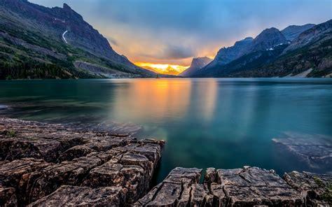 Windows 10 Preview Wallpaper Nature Landscape Lake Sunset Saint Mary Lake Montana Mountain Usa Reflection Calm Rock