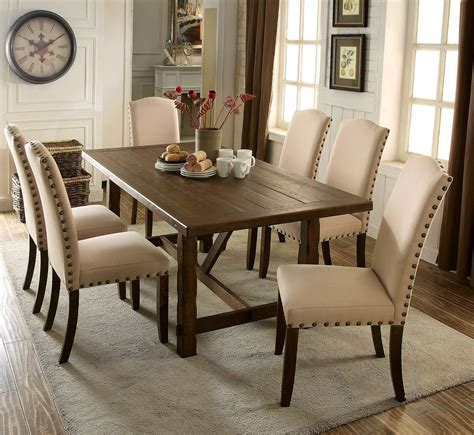 brentford rustic walnut rectangular dining room set