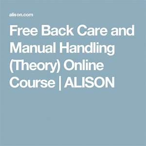 Free Back Care And Manual Handling  Theory  Online Course