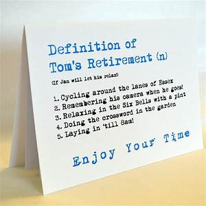 Personalised Definition Of Retirement Card By Sew Very
