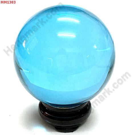 เฮงมากดอทคอม : MM1303 - ลูกแก้วใสสีฟ้าพร้อมขาตั้ง (80mm)