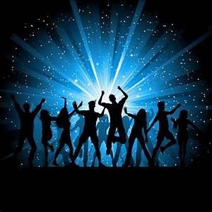 Silhouettes of people dancing on starry background Vector ...