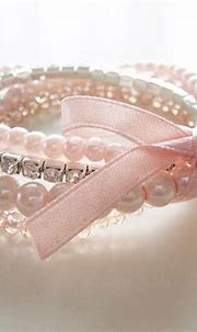 Romantic pearl bracelet shabby chic style pink pearls ...