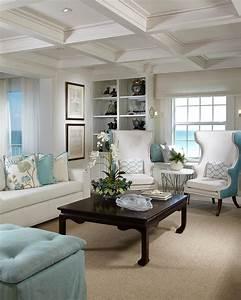 coastal, white, living, room, is, chic, , elegant