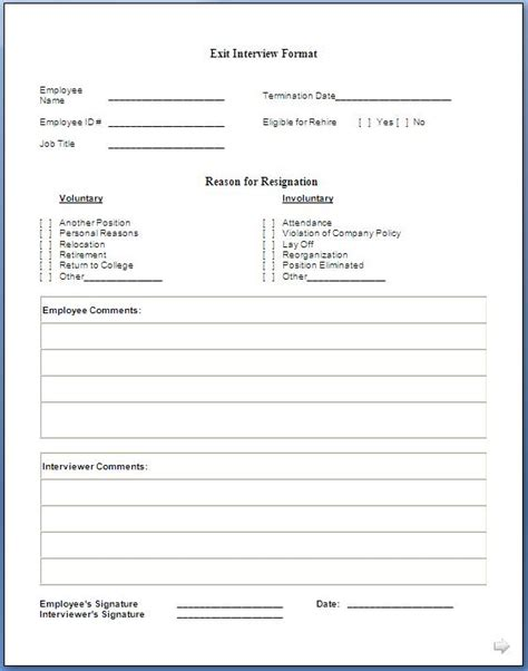 Exit Forms Templates by Exit Form