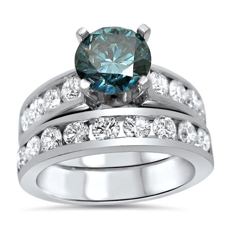 ct blue diamond engagement ring set  platinum