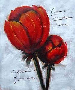 Tableau Fleurs Moderne : tableau peinture moderne fleur orange toile peinte ~ Teatrodelosmanantiales.com Idées de Décoration