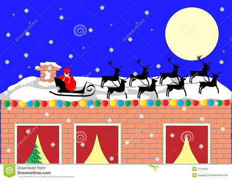 santa sleigh on the roof stock vector image of greeting