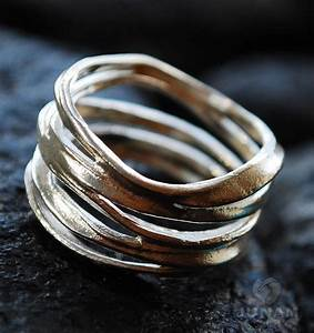 Silver ring unique loop design sterling silver handmade for Funky wedding rings