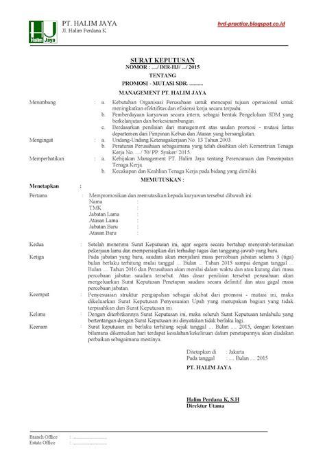 SK Mutasi - Promosi - Contoh 1 ~ HRD-PRACTICE