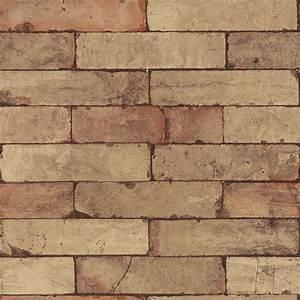 Washington Wallcoverings Brown Tone Faux Brick Wallpaper ...