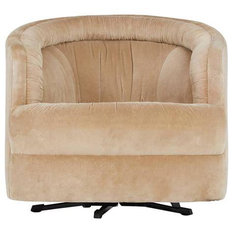 milo baughman style velvet swivel barrel chair attributed
